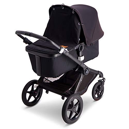 Baby Wallaby Sonnenverdeck für die Meisten Kinderwagen, skandinavisches Design, Universelle Passform, Schadstofffrei, 52x57 cm, Sonnenschutz, Sonnensegel(Schwarz)