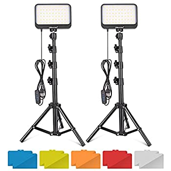 UBeesize LED Video Light Kit 2Pcs Dimmable Continuous Portable Photography Lighting with Adjustable Tripod Stand & 5 Color Filters for Tabletop/Low-Angle Shooting for Zoom Game Streaming YouTube
