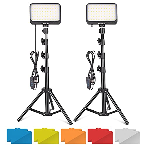 LED  Kit, 2Pcs Dimmable Continuous Portable Photography Lighting with Adjustable Tripod Stand & 5 Color Filters for Tabletop/Low-Angle Shooting, for Zoom, Game Streaming, YouTube - UBeesize video light