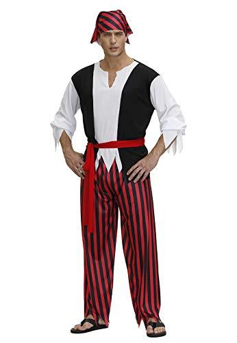 jutrisujo Disfraz Pirata Hombre Halloween Camisa de Rayas para Adultos Pantalones Diadema y cinturn Conjunto Disfraces Cosplay Vikingo