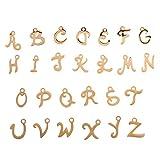 TOYANDONA 26 Piezas de Acero Inoxidable A-Z Alfabeto Colgantes Encantos Inglés Letras Encanto Colgante Collar Pulsera Accesorios para Diy Arte Artesanía Joyería Fabricación (Oro)