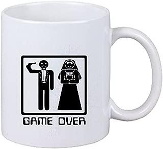 Taza cafetería párrafo Game Over cabeza Boda Boda matrimonio despedida de soltero schus cerámica Altura 9.5 cm de diámetro de 8 cm de Blanco