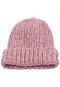 Leslii Damen warme Mütze Winter-Mütze Chenille Strickmuster rosa Strick-Mütze Größe One Size in Rosa
