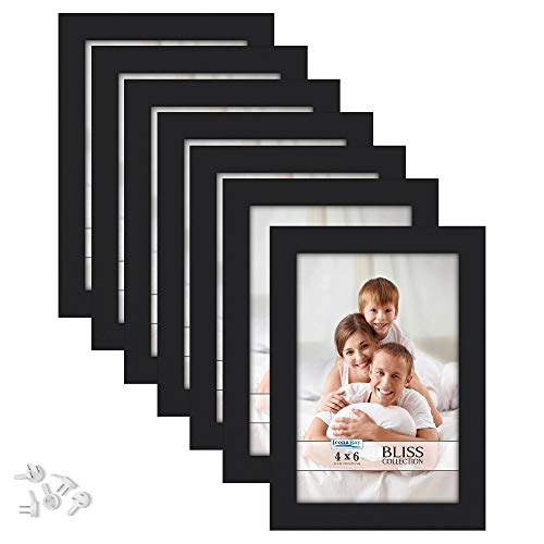 Icona Bay 4x6 Picture Frames (Black, 12 Pack), Modern Style Wood Composite Frames Table Top or Wall Mount, Bliss Collection