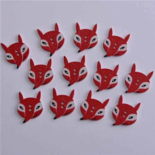 OIUYT 50st Mixed Animals 2Hole Wooden Buttons for Scrapbooking Crafts DIY Baby Kinderen Kleding Naaien accessoires Button Decoratie (Color : Red fox)