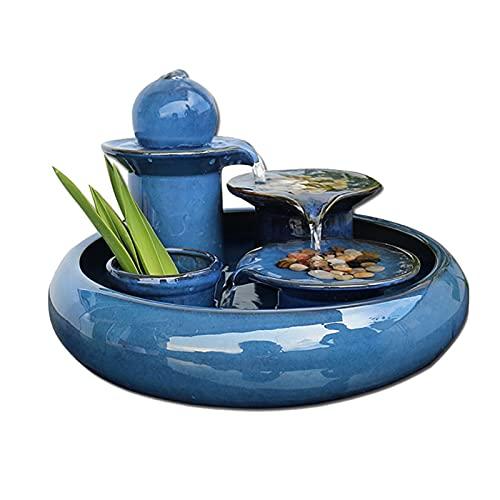 ZJH Fuente de relajación Fuente de cerámica Cascada Cascada Indoor Fountain Potes Natural Relajación Decoración Regalos Oficina de Viño Fuente Interior al Aire Libre (Color : Blue)