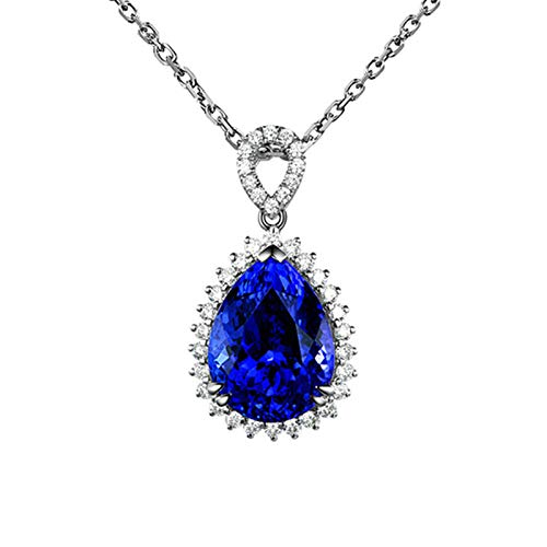 AYDOME Necklace for Women, Blue Crystal Pendant Inlaid with Cubic Zirconia for Christmas Necklace