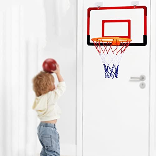 Mini Basketballkorb Kinder,Tür/Wand Basketballständer Sport Spielzeug,Zusammenklappbar Wandmontage Tragbar Basketball Backboard Set Für Outdoor Indoor,Mit Haken,Pumpe,Netz Und Bällen