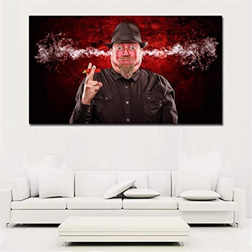 nr mannen eet peper oor roken abstracte kunst portretschilderij canvas gedrukt muurkunst print poster voor de woonkamer decor 50x100 cm zonder lijst