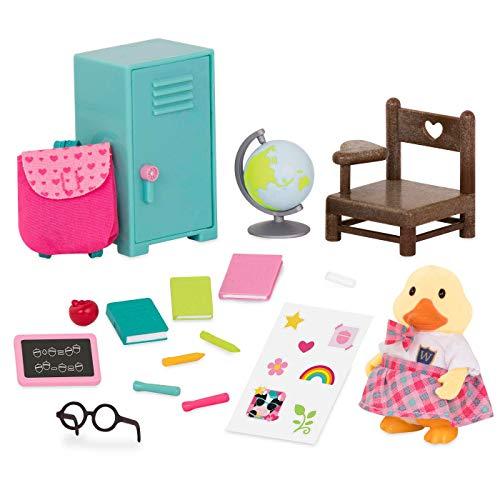 Li'l Woodzeez 16-teilig Ente in der Schule Figur und Zubehör Set – weiche Tierfigur, Rucksack, Schließfach und mehr – Spielzeug für Kinder ab 3 Jahren
