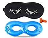Fitglam Pure Silk Sleep Mask + Reusable Cold/Hot Therapy SPA Gel Eye Mask Set - Improve Sleeping, Alleviate Puffy, Swollen Eyes, Fatigue, Headache and Tension (Black with White Eyelashes & Gel)