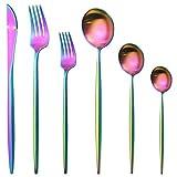 GrandGift 12 Piezas De Acero Inoxidable Vajilla Set De Cubertería Matte Knife Postre Fork Spoon Vajilla Set Silverware Set