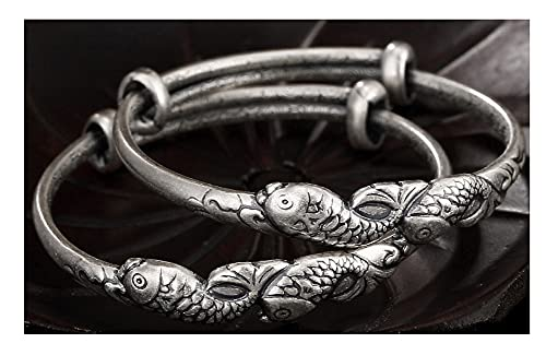 VIVIANSHOP Pulsera de plata de ley para bebé, pulsera de carpa de plata de ley, estilo retro, ajustable, lindo, pulsera de plata para niños, talla única