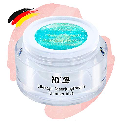 Uv Led Effekt-Gel Meerjungfrauen Glimmer Blue - Blau - Studio Qualität - Made In Germany - 5ml