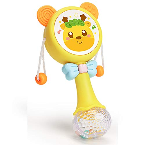 Rattle Toy Drum for Infant, Shaker Toy Musical rattles for Babies with Light up and Singing for boy or Girl Birthday Gift (Yellow)