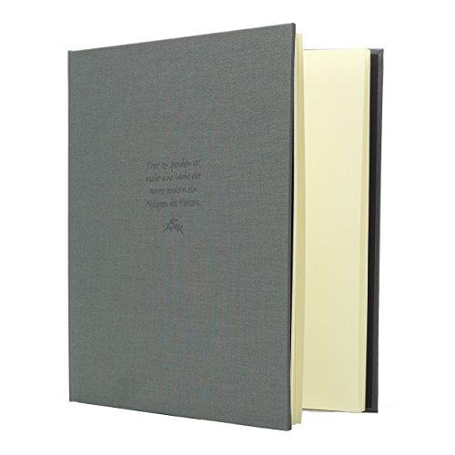 Kondolenzbuch mit grauem Stoffeinband, 24.8 x 22.8 cm, 72 Seiten weißes Papier blanko