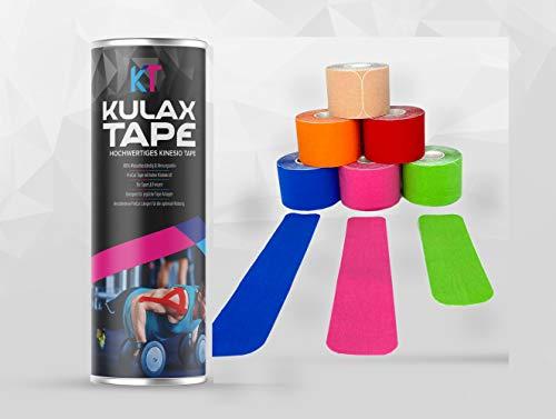 KULAX Kinesiologie Tape | Hochwertiges, Extra Starkes Kinesiotape PreCut, Vorgeschnitten, verschiedene Längen für die optimale Nutzung | 6 Rollen | Wasserfest für Sport & Freizeit [5M x 5 CM]