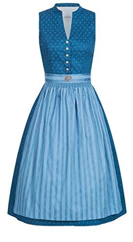 Nübler Dirndl Amelina Blau, 34-42, Retro-Dirndl, Hochgeschlossen, Vintage, Brosche, 100% Baumwolle Blau Gr. 40