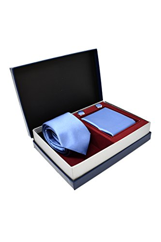 Coffret Ensemble Cravate Homme, Mouchoir de Poche, Boutons de Manchette Bleu Clair - 100% en Soie - Classique, Elégant et Moderne - (Idéal pour un cad