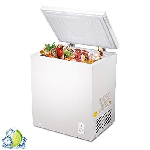 R.W.Flame Chest Freezer 5.1 Cubic Feet,Removable Basket, Deep Freezer,Adjustable Temperature,Energy Saving,Top open Door Compact Freezer,White