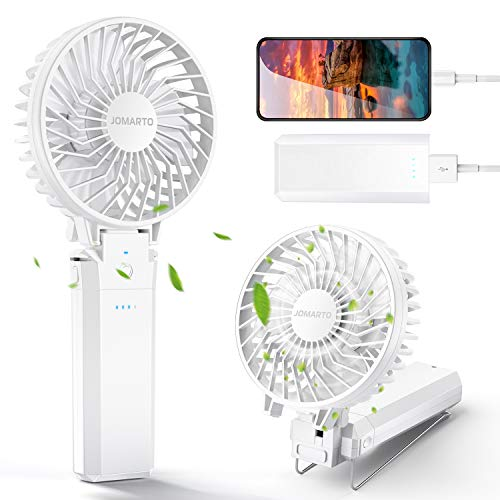 JOMARTO Handheld Fan Battery Operated Desk Fan 5200mAh 5 Speeds 20H Working for Household/Office/Travel/Camping Personal Rechargeable Portable Detachable&Washable (White)