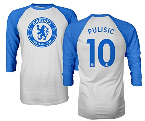 Spark Apparel London Blue #10 PULISIC Soccer Jersey Style Men's Quarter Sleeve Raglan T-Shirt (Royal, 2X-Large)