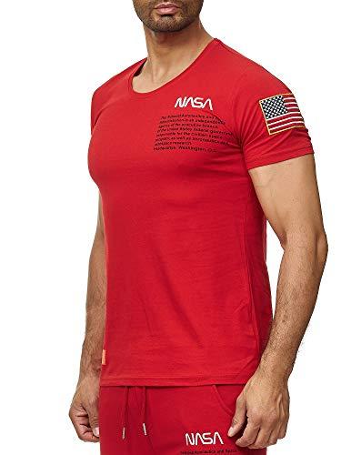 Red Bridge Herren T-Shirt NASA Logo USA Spaceshuttle Baumwolle Rundhals M1295 Rot M