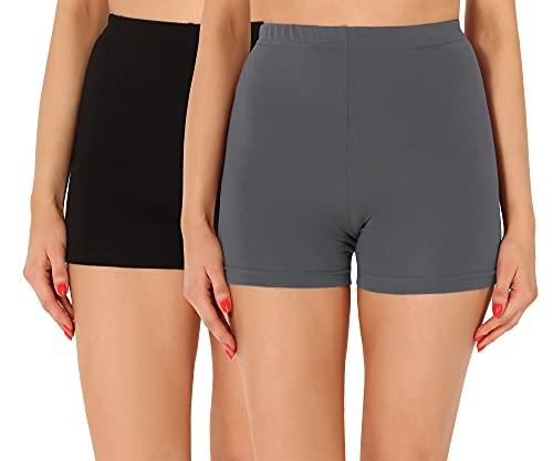 Merry Style Damen Shorts Radlerhose Unterhose Hotpants Kurze Hose Boxershorts aus Baumwolle 2Pack MS10-358 (2Pack Schwarz/Grau, XXL)