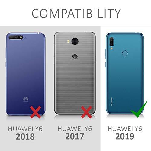 kwmobile Hülle kompatibel mit Huawei Y6 (2019) - Kunstleder Wallet Case mit Kartenfächern Stand Don't Touch My Phone Weiß Schwarz