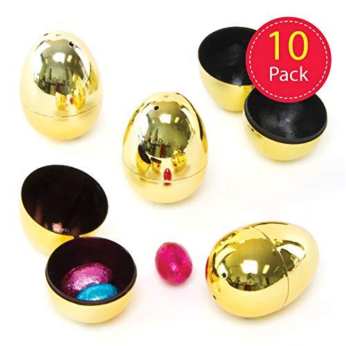 Baker Ross Goldene, 2-teilige Eier für Kinder zum Befüllen mit Ostersüßigkeiten zur Eiersuche (10 Stück)