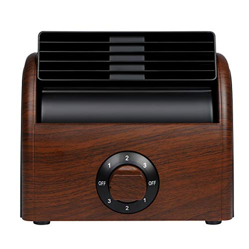 Desk Fan Personal Quiet Powerful Small Table Fans Retro Bladeless Fans for Home Office Bedroom Bedside AC Powered