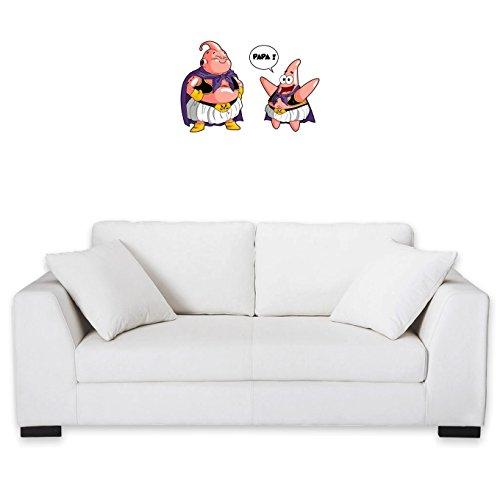 Okiwoki Sticker Mural Dragon Ball Z - Bob l'éponge parodique Majin BOU et Patrick : Papa !! (Tel père, tel Fils !) (Parodie Dragon Ball Z - Bob l'éponge)