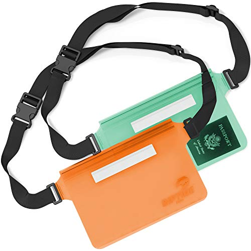 Waterproof Fanny Pack Pouch (2 Pack) for Men & Women Dry Bag Water Resistant with Adjustable Waist Strap - Protects Valuables at Water Sports Or Boating Snorkeling Swimming (Sheer Green & Orange)