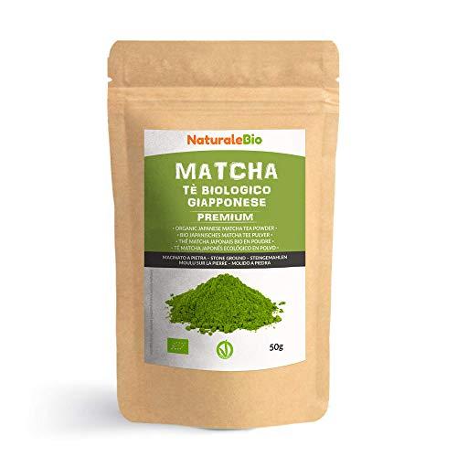 Thé Matcha Bio Japonais [ Premium Qualité ] 50 gr. Thé Vert Matcha en Poudre 100% Naturel. Matcha Green Tea Produit au Japon Uji, Kyoto. Idéal à Boire, pour Cuisiner et dans le Lait. NATURALEBIO®