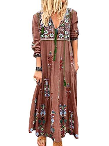 ORANDESIGNE Robe Longue Femme Grande Taille Manches Longues Col V Automne Broderie Fleur Boho Maxi Dress Élégante Cocktail Bohème Robes A Marron 40