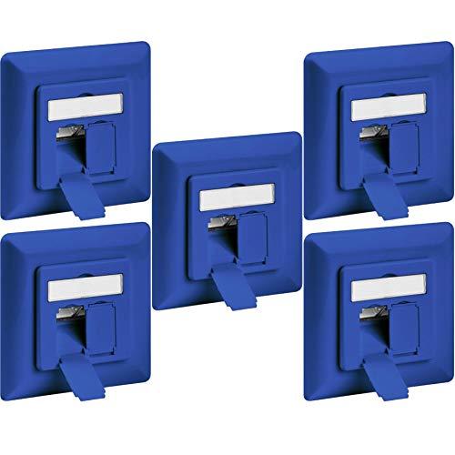 1aTTack.de netwerkcontactdoos, inbouwdoos, opbouw, inbouw, cat5 cat5e cat6 cat7 cat8 installatiekabel, aansluitdoos, netwerk, LAN-ethernet 5x Cat6 Netzwerkdose UP blau Cat 6 (blauw) inbouw