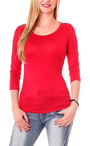 Easy Young Fashion Damen Basic Shirt 3/4 Arm Longsleeve Langarmshirt Stretch T-Shirt Unterhemd Rundhals-Ausschnitt Rot S 36
