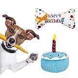 SOSPIRO Haustier Hund Geburtstagstorte & Geburtstagsknochen Quietschendes weiches Plüschtier - Feiern Sie den Geburtstag Ihres Hundes