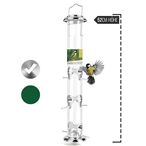 wildtier herz | XL Körner-Futterspender 52cm - Futtersäule für Vögel zum Aufhängen mit Edelstahl-Anflugplätzen, Futterstation zur ganzjährigen Wildvögel Fütterung (Silber)