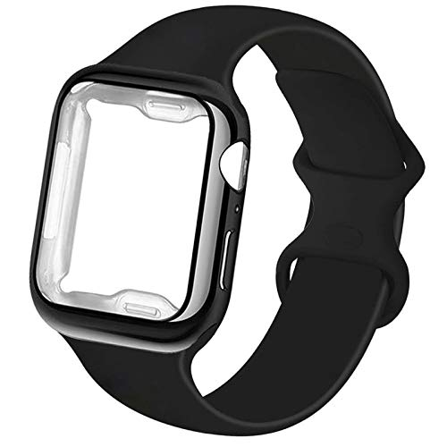RUOQINI Smartwatch Band with Case Compatible for Apple Watch Band, Silicone Sport Band and TPU Case for iWatch Series 6/5/4/3/2/1/SE,Black Band with Black Case in 38ML Size