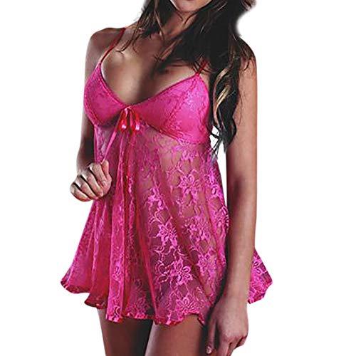 Ropa de Dormir para Mujeres,SHOBDW Regalo del día de San Valentín Sexy Ladies Lingerie Babydoll Tangas Camisola Talla Grande Vestido de Encaje Vestido Ropa de Dormir 2 PCS(Rosa,XL)