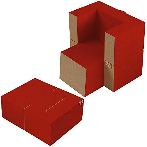 Baldiflex Sillón reposapiés práctico de espuma viscoelástica y poliuretano, funda extraíble y lavable, color rojo pompeano