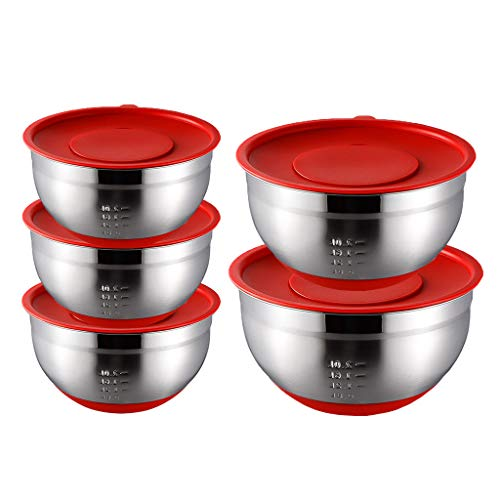 HAOXIANG Mixing Bowls 5-Pieces, Stainless Steel Stackable Salad Container with Silicone Bases & Lids for Kitchen Baking Cooking Food Storage – Dishwasher Safe,with lid