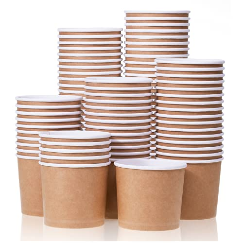 Paper Ice Cream Cups - 100-Count 11-Oz Disposable Dessert Bowls for Hot or Cold Food, 11-Ounce Party Supplies Treat Cups for Sundae, Frozen Yogurt, Soup, Brown