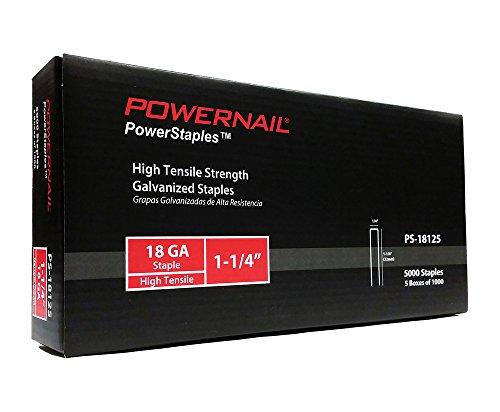 Powernail 18ga, 1/4' crown, Chisel Point Narrow Crown Staple. 1-1/4'L. 1 box of 5-1000ct packs.