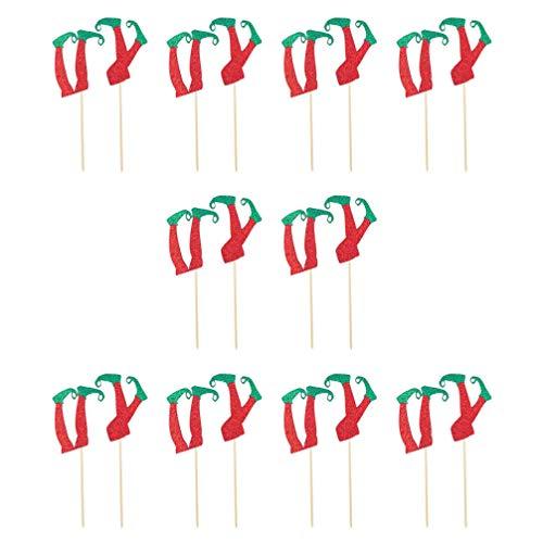 Tomaibaby 20Pcs Natale Cupcake Topper Creativo Gambe di Elfo Ornamento Torta Decorazioni di Dolci Natalizi per Negozio di Feste a Casa