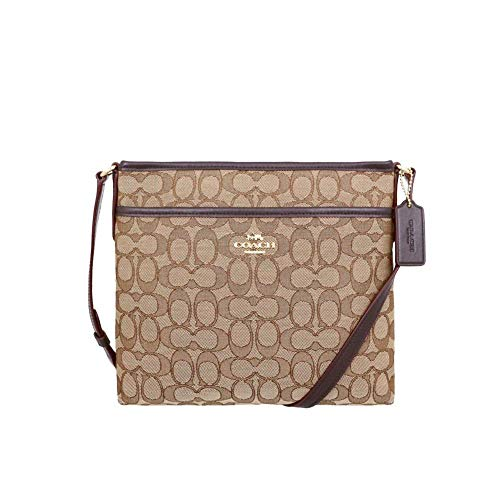 "Signature jacquard with smooth leather details Zip-top closure, fabric lining Outside slip pocket Adjustable strap with 21 3/4"" drop for shoulder or crossbody wear 10 1/4"" (L) x 8 3/4"" (H) x 2"" (W)"