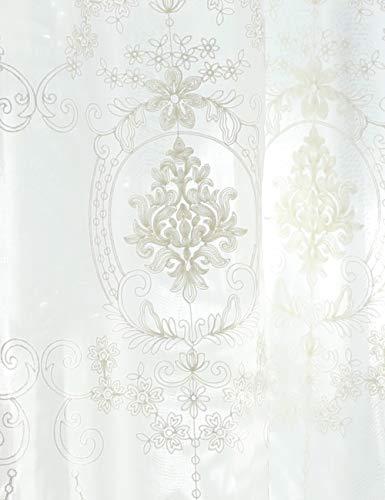 Lactraum Cortinas de salón blancas bordadas vintage clásicas de voile normal con banda universal 100 x 245 cm