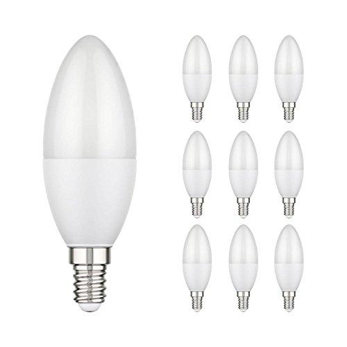 ledscom.de E14 LED candela 3,8W =29W 300lm 270° bianca calda, 10 PZ