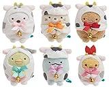 San-X Sumikko Gurashi Mini Plush 6 Set Neujahr VER, Plüsch importiert, Serie von Spielzeug in der Handfläche MY84401, 60 x 50 x 50 mm
